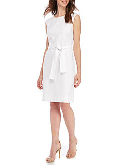 Nine West White Linen Belted Dress