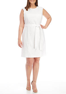 Nine West Plus Size Linen A-line Dress