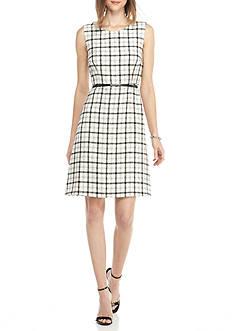 Nine West Plaid Flare Belted Dress