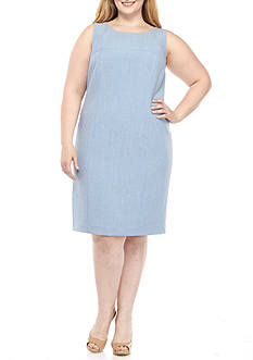 Nine West Plus Size Cross Dye Sheath Dress
