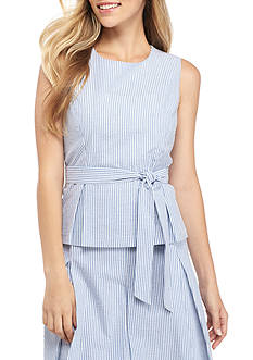 Nine West Stripe Seersucker Belted Top