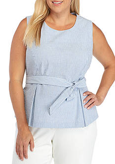 Nine West Plus Size Stripe Seersucker Belted Top