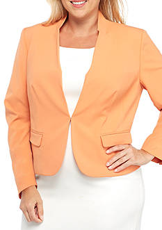 Nine West Plus Size Stretch Crepe Kiss Front Jacket
