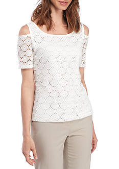 Nine West Crochet Lace Cold Shoulder Top
