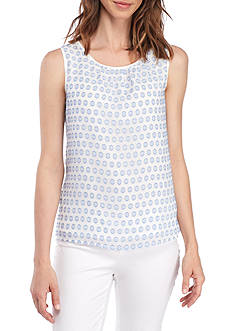 Nine West Clip Dot Pleated Neck Cami