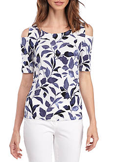 Nine West Printed Cold Shoulder Top