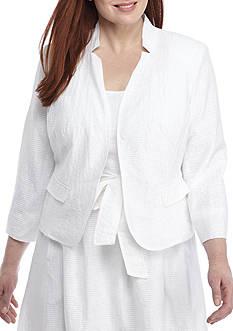 Nine West Plus Size Burnout Kiss Front Jacket