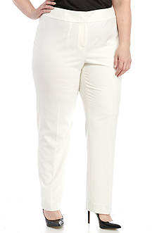 Nine West Plus Size Solid Slim Pant