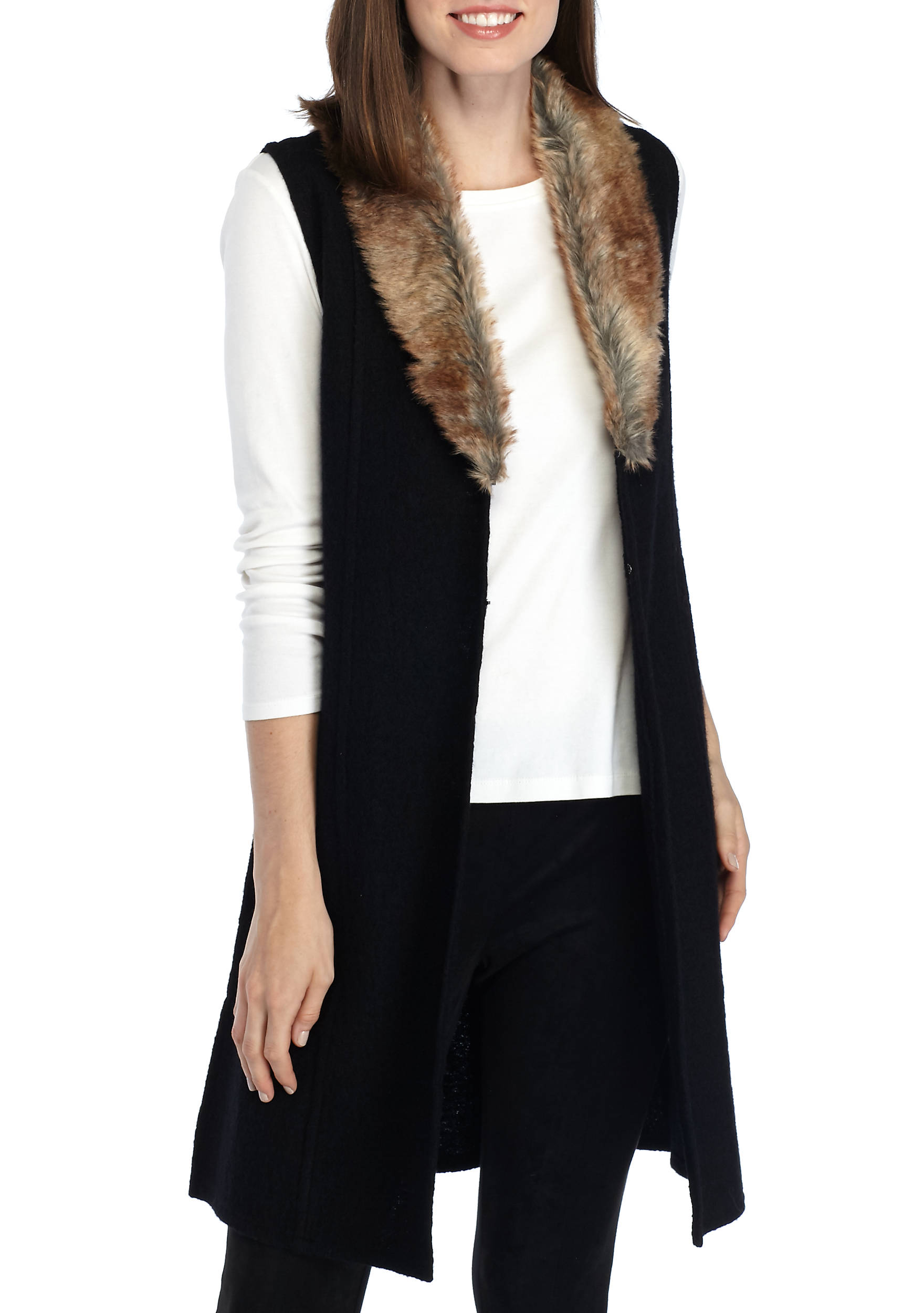 Nine West Long Sweater Vest with Fur Collar | belk