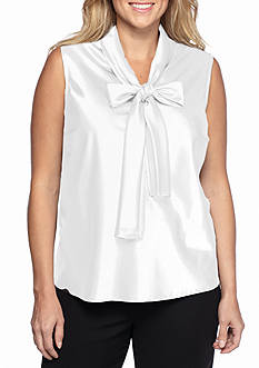 Nine West Plus Size Tie Neck Blouse