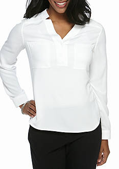 Nine West Plus Size Solid Dual Pocket Blouse