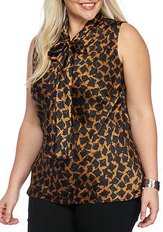 Nine West Plus Size Sleeveless Printed Blouse