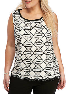 Nine West Plus Size Tribal Lace Tank