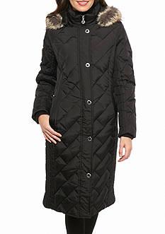 Anne Klein Diamond, Snap Zip Hoodie Coat