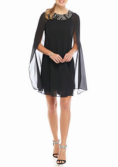 Vince Camuto Bead Embellished Neckline Flyaway Dress