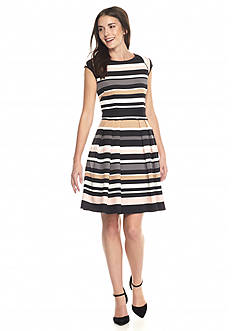 Vince Camuto Striped Fit and Flare Dress
