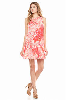 Vince Camuto Floral Printed Dress with Flounce Hem