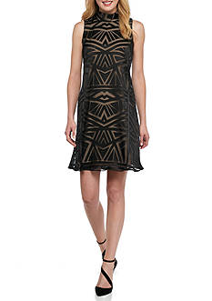 Vince Camuto Roll-Neck Burnout Jersey Trapeze Dress