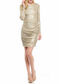 Vince Camuto Foiled Jersey Ruched Dress