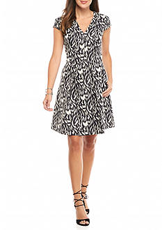 Vince Camuto Printed Jacquard Fit and Flare Dress