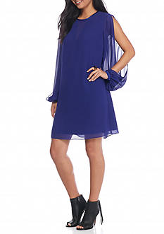 Vince Camuto Split-Sleeve Chiffon Trapeze Dress