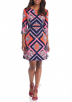 Vince Camuto Printed Fit and Flare Dress