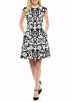 Vince Camuto Printed Fit and Flare Dress with Faux Leather Trim