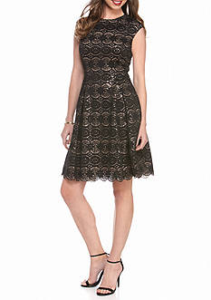 Vince Camuto Sequin Lace Fit and Flare Dress