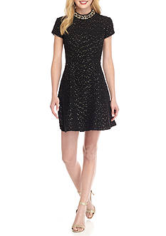 Vince Camuto Bead Embellished Fit and Flare Dress