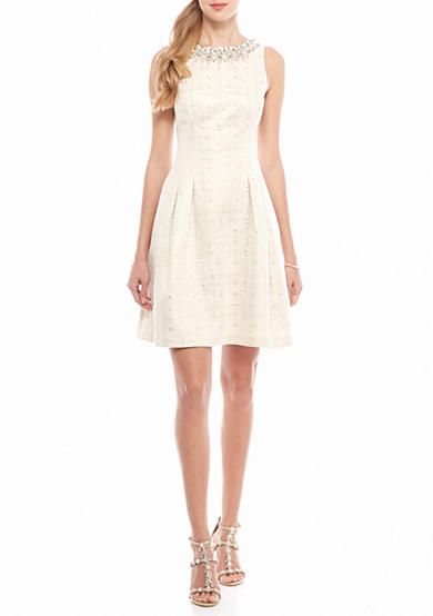 Vince Camuto Bead Embellished Jacquard Fit and Flare Dress