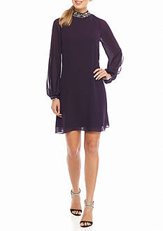 Vince Camuto Bead Embellished Mock Collar Dress