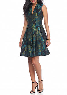 Vince Camuto Floral Jacquard Fit and Flare Dress