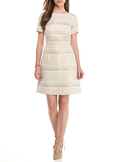 Vince Camuto Metallic Stripe Jacquard A-line Dress