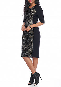 Vince Camuto Ponte and Lace Panel Sheath Dress