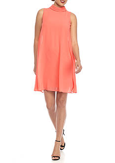 Vince Camuto Roll Collar Trapeze Dress