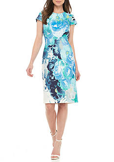 Vince Camuto Floral Cap Sleeve Bodycon Dress