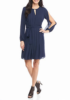 Vince Camuto Long Split-Sleeve Pleated Georgette Dress