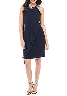 Vince Camuto Beaded Neckline Sleeveless Dress