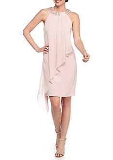 Vince Camuto Beaded Neckline Sleeveless Dress