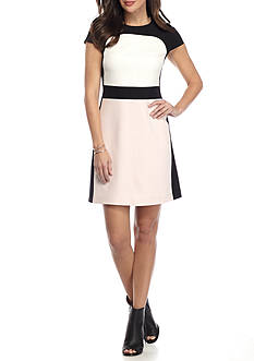 Vince Camuto Crepe Colorblock Shift Dress