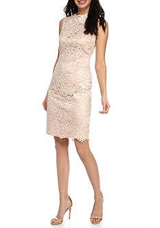 Vince Camuto Hi-Neck Lace Sheath Dress