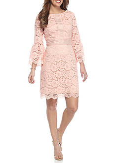 Vince Camuto Lace Bell Sleeve Shift Dress