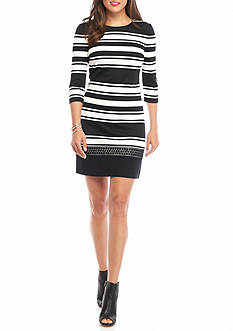 Vince Camuto Lace Trim Striped Shift Dress