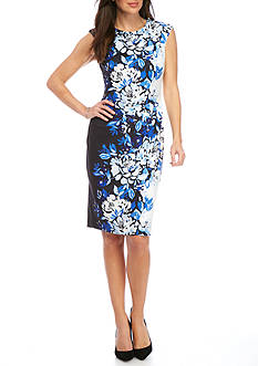 Vince Camuto Patterned Capped Sleeve Sheath Dress