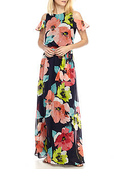 Vince Camuto Cold Shoulder Chiffon Maxi Dress