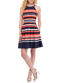 Vince Camuto Stripe Scuba Fit and Flare Halter Dress