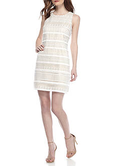 Vince Camuto Fringe and Lace Sleeveless Shift Dress