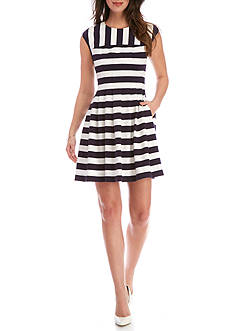 Vince Camuto Striped Release Pleated Dress