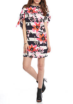 Vince Camuto Floral Stripe Shift Dress