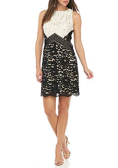 Vince Camuto Sleeveless Lace Colorblock Shift Dress